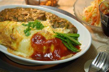 筍入りオムライスとカレーのオーブン焼き