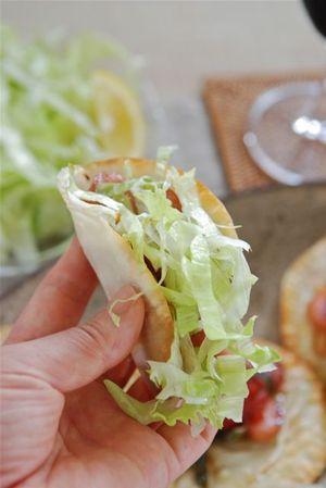 餃子の皮のサラダピザ風-3