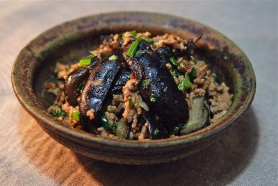 茄子漬けと挽肉の炒め物