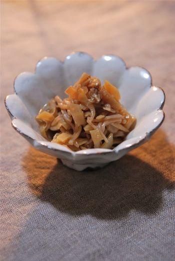 筍と生姜とえのき茸のラー油炒め