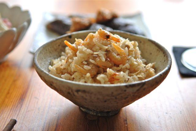 葉生姜と干し海老の炊き込み御飯