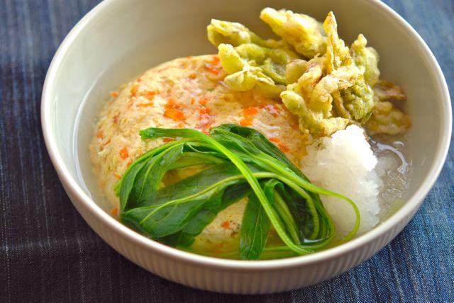フキノトウの天ぷらと豆腐の蒸し物-2
