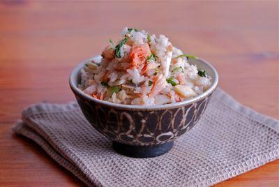 紅鮭と青菜のご飯