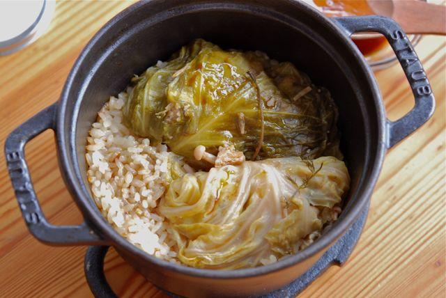 豆腐のロールキャベツとリゾット