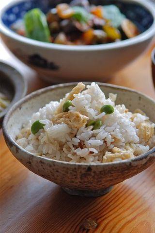枝豆とミョウガの炊き込みご飯