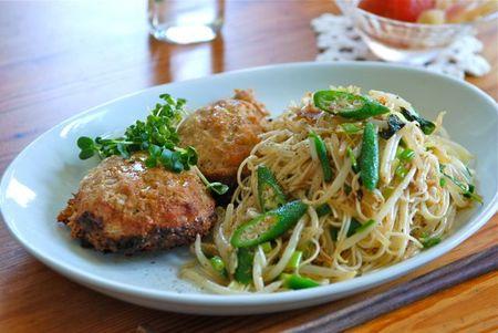 素麺チャンプルー+豆腐ハンバーグ