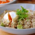 落とし卵と四角豆のグリーンカレー