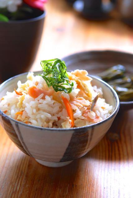 鮭と茗荷の炊き込みご飯