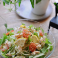 サラダチキンと水菜の冷製パスタ
