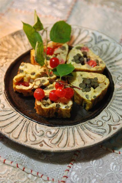 山菜と梅桃の卵焼き